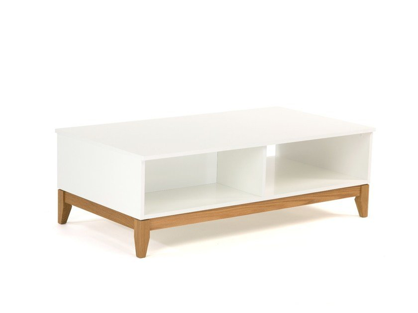 Lacquered coffee table with storage space BLANCO | Coffee table - Woodman