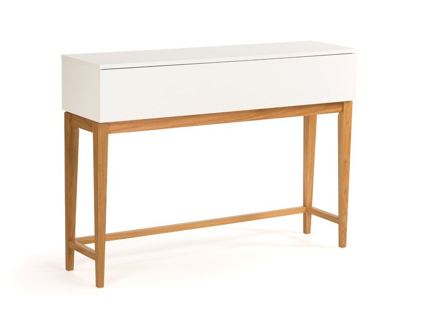 Lacquered rectangular wooden console table BLANCO | Console table - Woodman
