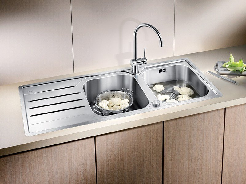 2 bowl built-in stainless steel sink with drainer BLANCO MEDIAN 8 S-IF - Blanco