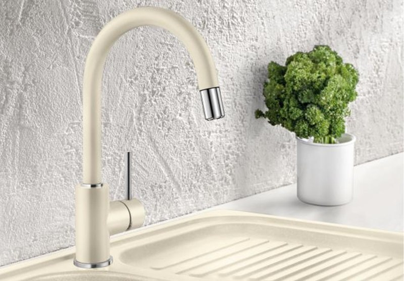 Kitchen mixer tap with spray with pull out spray BLANCO MIDA-S versione SILGRANIT - Blanco