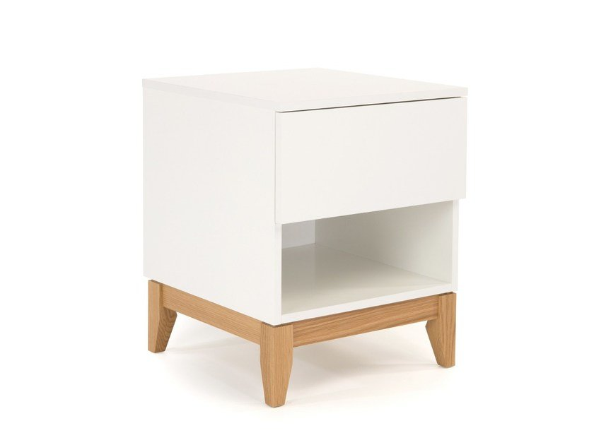 Lacquered wooden side table with storage space BLANCO | Side table - Woodman