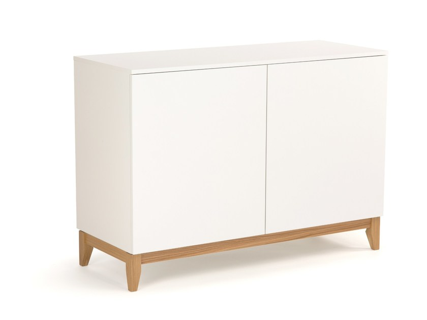 Lacquered wooden sideboard with doors BLANCO | Sideboard - Woodman