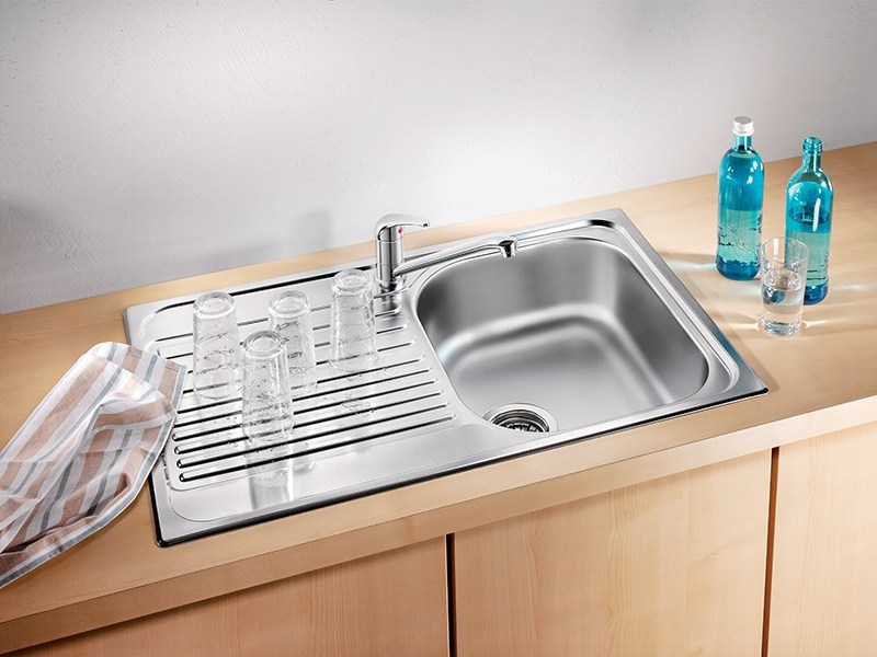 Single built-in stainless steel sink with drainer BLANCO TIPO 45 S COMPACT - Blanco