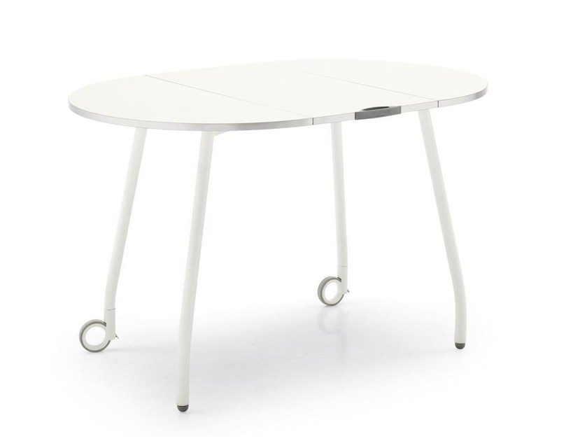 Extending kitchen table with casters BLITZ | Kitchen table - Calligaris