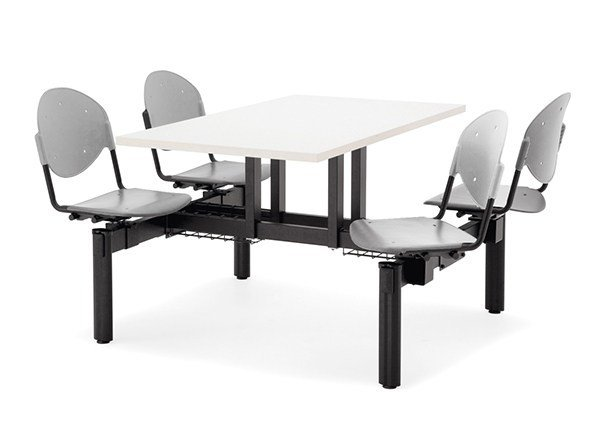 Rectangular Table for public areas with integrated seats BLOCCO MENSA | Table for public areas with integrated seats - Dieffebi