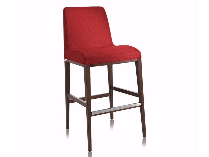 Wooden counter stool with fire retardant padding with footrest BLOOM SG | Counter stool - CHAIRS & MORE