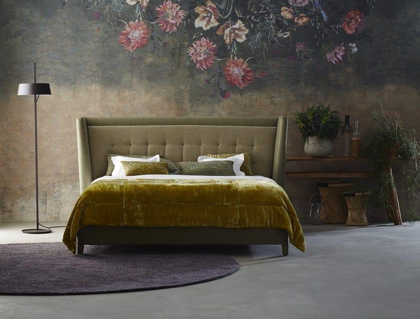 Upholstered fabric double bed with high headboard BLOOM - Schramm Werkstätten