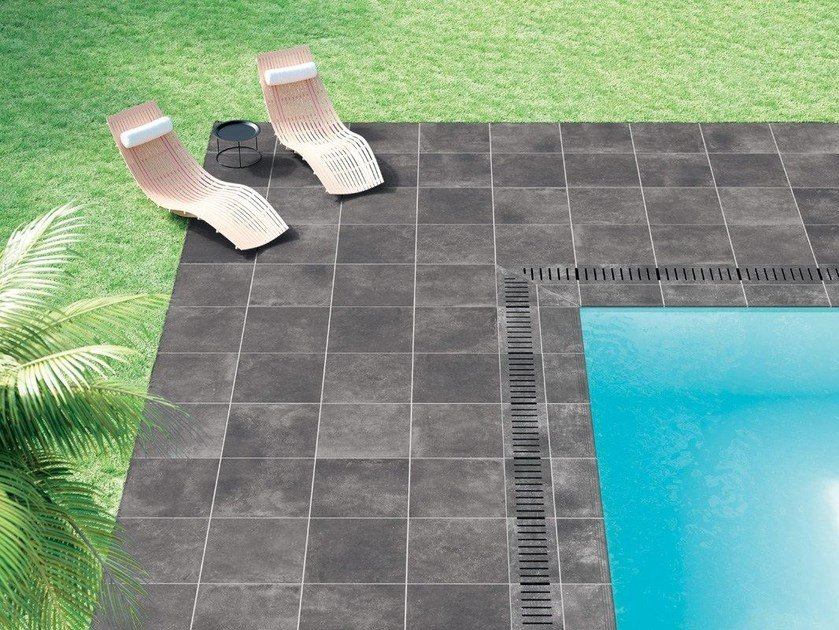Full-body porcelain stoneware outdoor floor tiles with concrete effect BLUE EVOLUTION ANTHRACITE by La Fabbrica