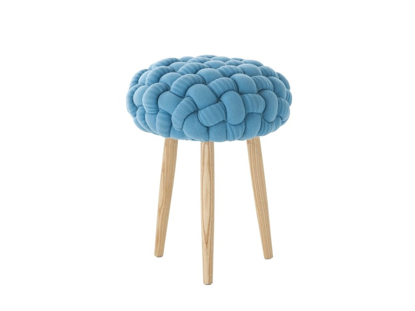 Upholstered wool stool BLUE KNITTED STOOL by GAN