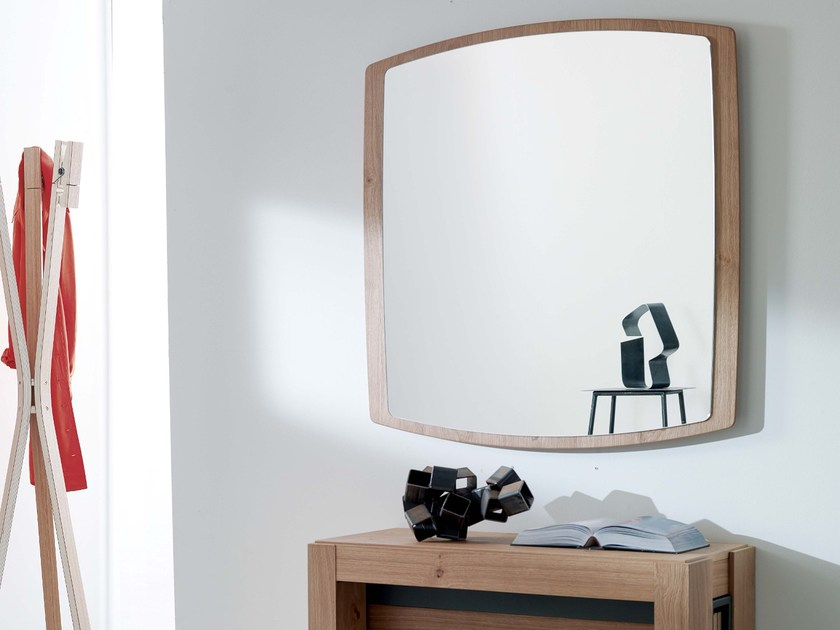 Wall-mounted framed square mirror BOAT | Square mirror - Ozzio Italia