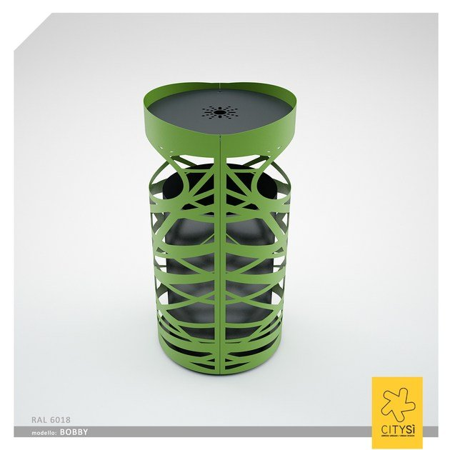 Metal waste bin with lid with ashtray BOBBY | Waste bin with lid - CITYSì