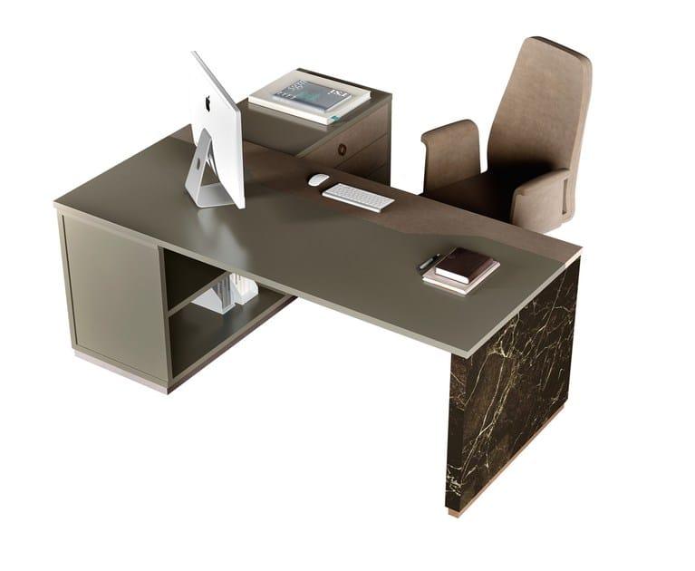 Scrivania ad angolo in legno in stile moderno con alzata for Scrivania stile industriale