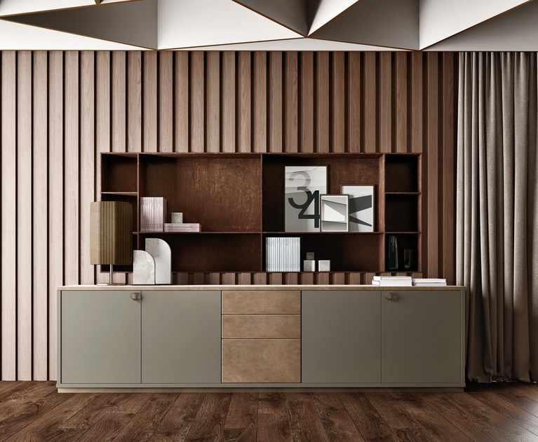 Contemporary style low lacquered wooden office storage unit with hinged doors BOLD | Low office storage unit - Caroti