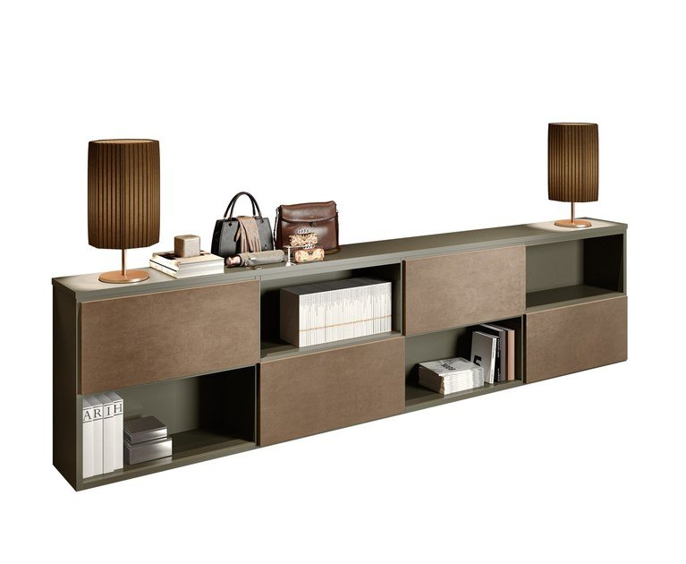 Open low lacquered wooden office shelving BOLD | Modular office shelving by Caroti
