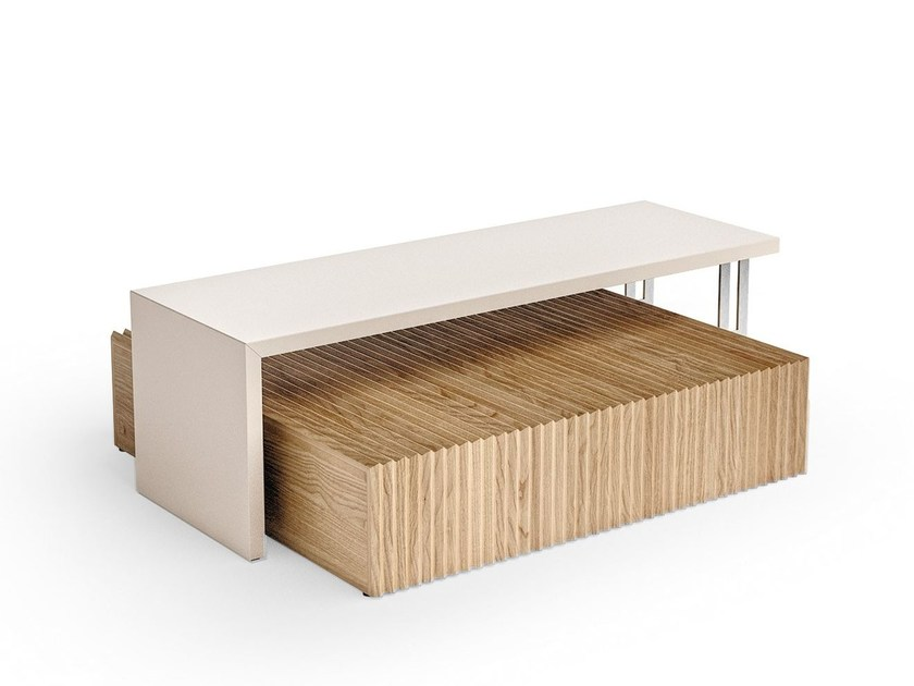 Contemporary style low wooden coffee table with tray for living room BONSEKI BRIDGE | Coffee table with tray by Caroti