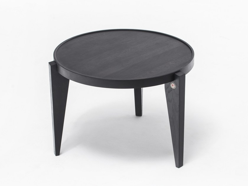 Lacquered round English oak coffee table BONTRI BLACK - ST FURNITURE