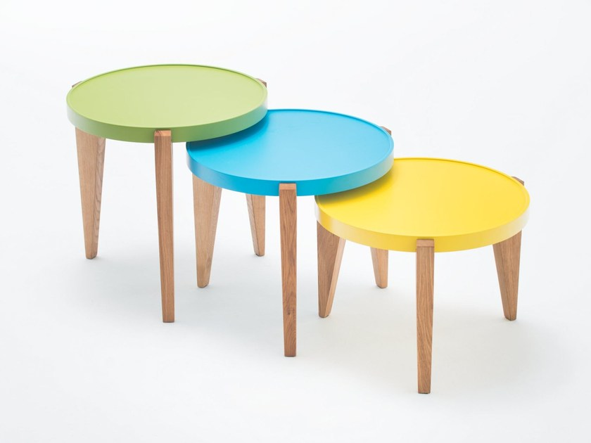 Round English oak coffee table BONTRI COLOR by ST FURNITURE