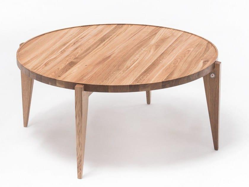 Round English oak coffee table BONTRI 110 - ST FURNITURE