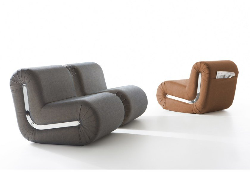 Sectional upholstered fabric armchair BOOMERANG by B-LINE