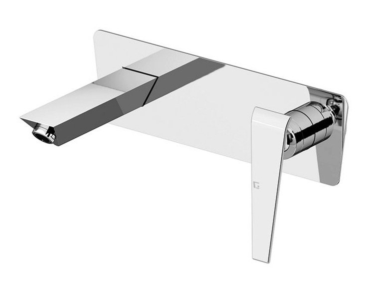 Wall-mounted washbasin tap with plate BOOMERANG | Wall-mounted washbasin tap - Gattoni Rubinetteria