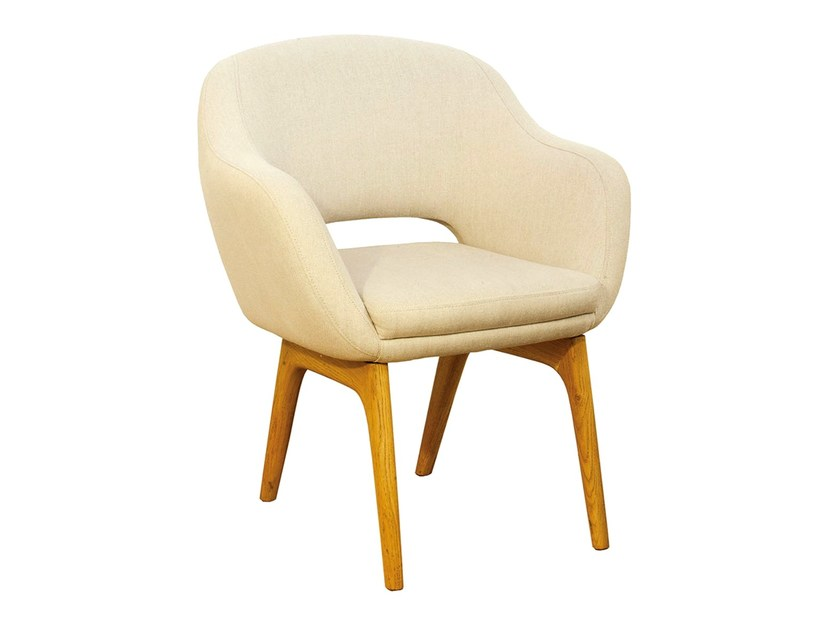 Fabric easy chair with armrests BORBOLETA | Easy chair - Branco sobre Branco
