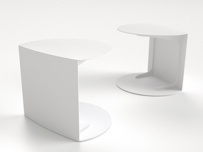 Oval aluminium garden side table BORNÉO | Aluminium garden side table - Sérénité Luxury Monaco