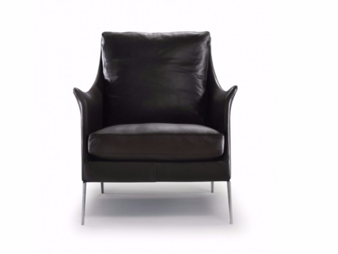 Upholstered tanned leather armchair with armrests BOSS   Armchair - FLEXFORM