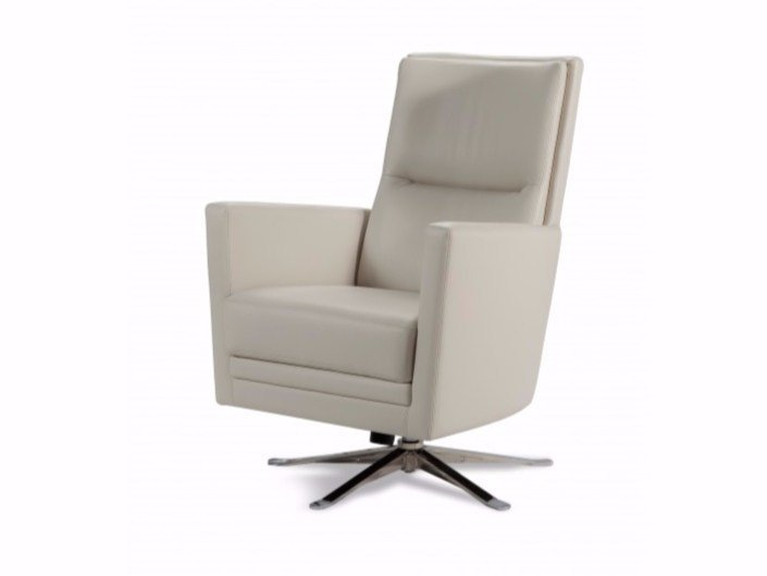 High-back leather armchair with 5-spoke base with armrests BOSS - Canapés Duvivier