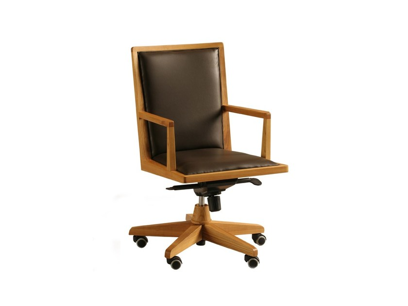 Swivel leather executive chair with casters BOSS | Executive chair - Morelato