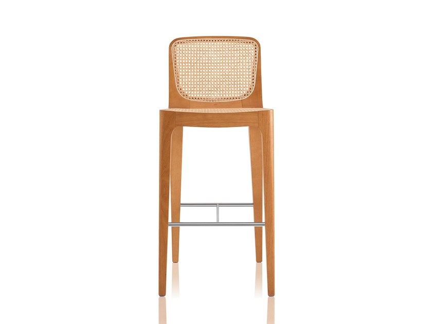 Solid wood barstool with footrest BOSSA | Barstool - Sollos