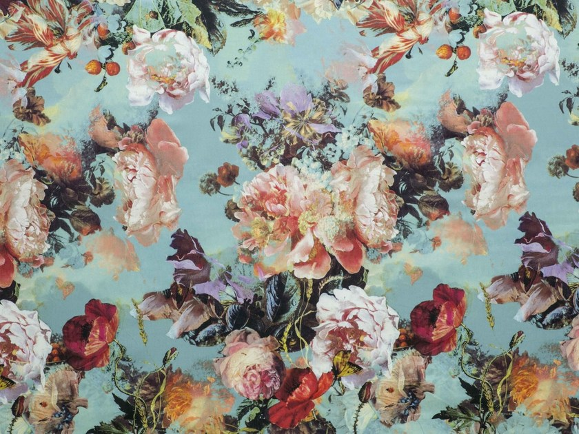 Printed satin fabric with floral pattern BOTANIQUE by LELIEVRE