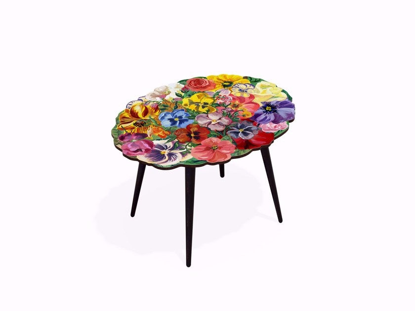 Tavolino ovale in HPL e faggio BOUQUET M | Tavolino ovale - Bazartherapy