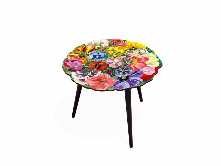 Round beech wood and HPL coffee table BOUQUET M | Round coffee table - Bazartherapy