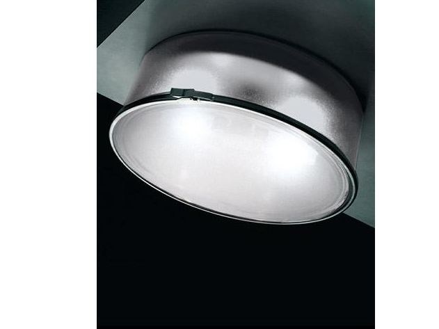 Glass and aluminium ceiling lamp BOX ROTONDA | Ceiling lamp - Ailati Lights