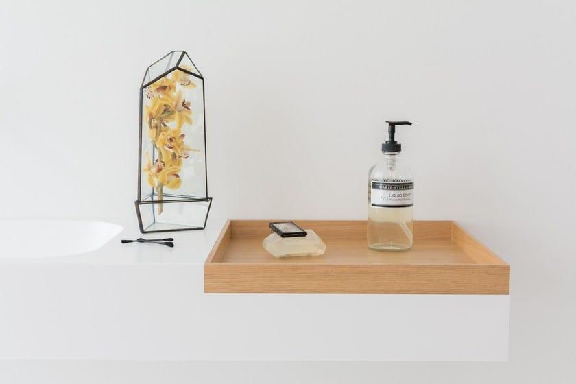 Rectangular wall-mounted HI-MACS® washbasin BOX   Wall-mounted washbasin - Not Only White