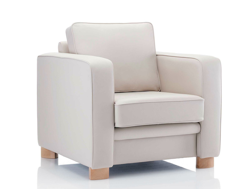 Upholstered leather armchair with armrests BOXER | Armchair with armrests - Boss Design