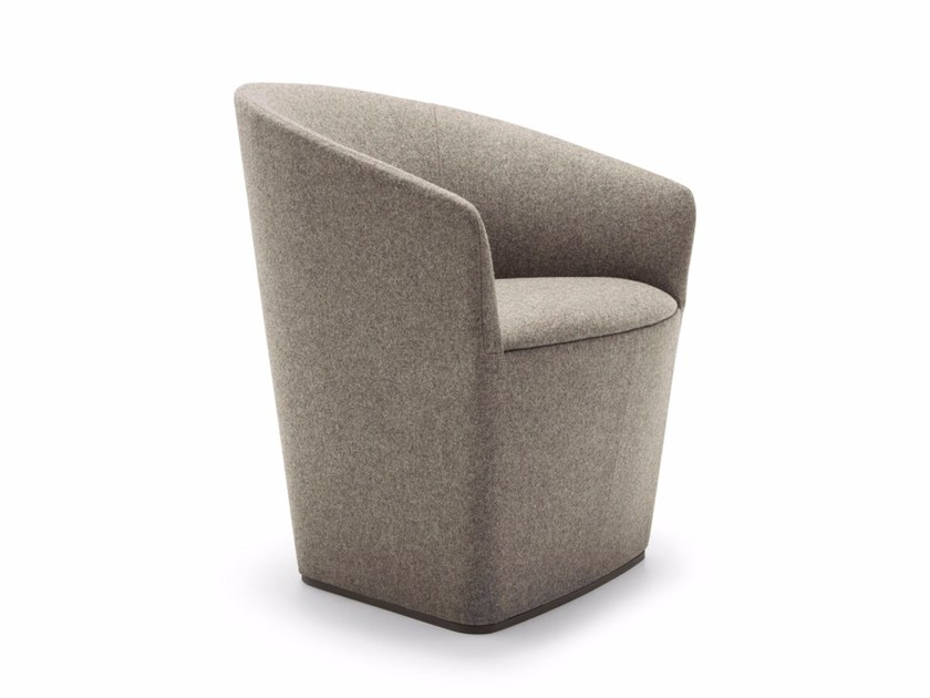 Upholstered fabric easy chair with armrests BRANDY | Fabric easy chair - Andreu World