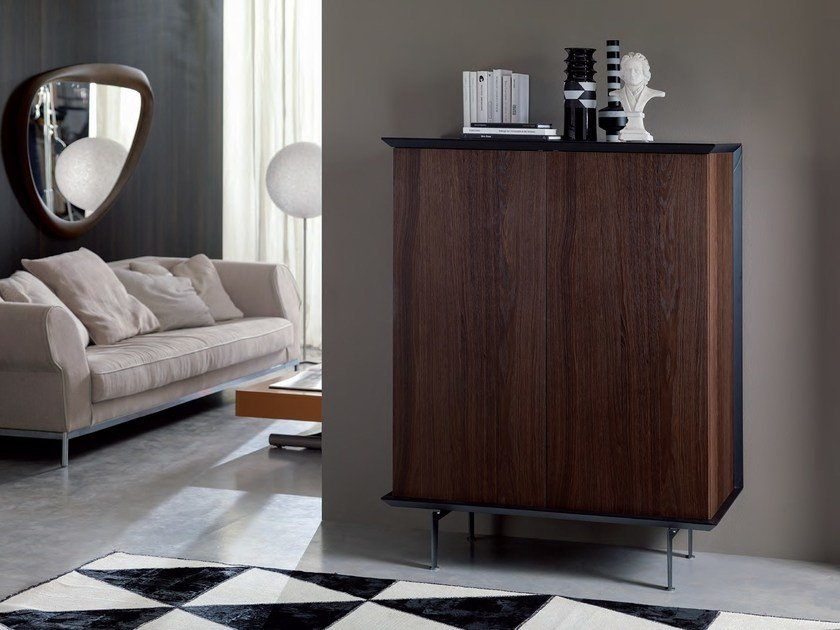 Wooden highboard with sliding doors BRERA | Highboard - Ozzio Italia