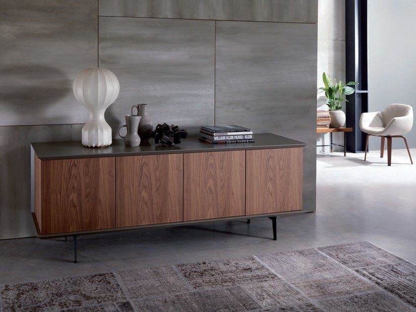Lacquered wooden sideboard with doors BRERA | Wooden sideboard - Ozzio Italia