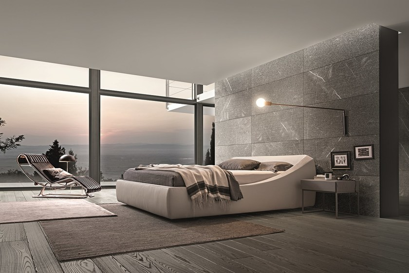 Upholstered fabric double bed BRERA by Presotto