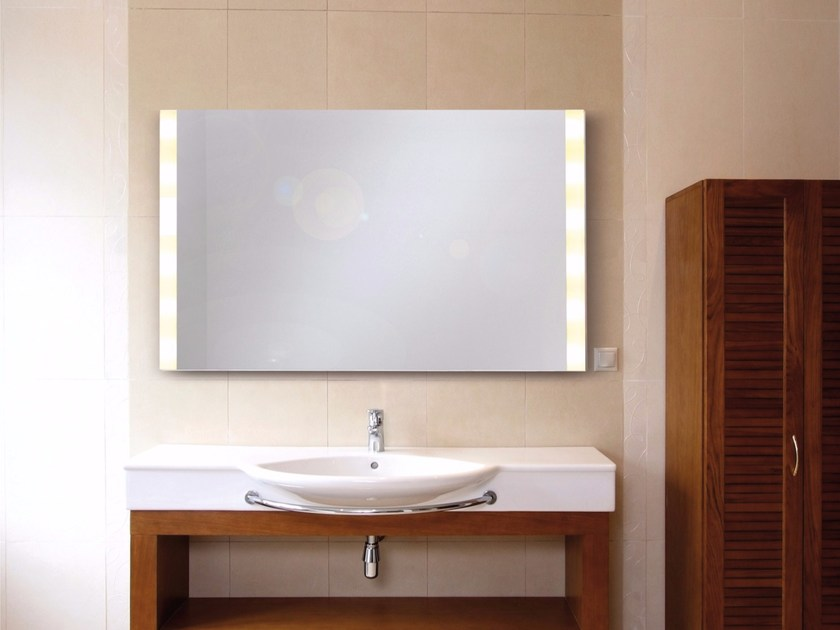 Wall-mounted mirror with integrated lighting BRIGHTLIGHT - Top Light
