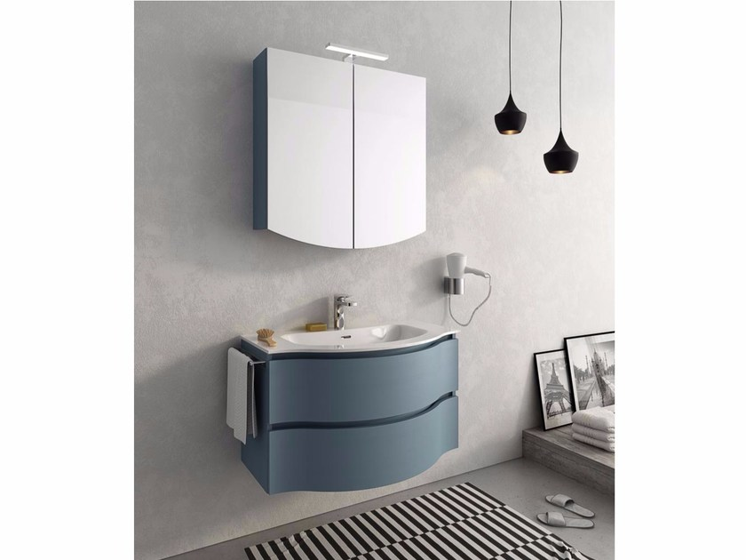Lacquered wall-mounted vanity unit with drawers BROADWAY B2 - LEGNOBAGNO