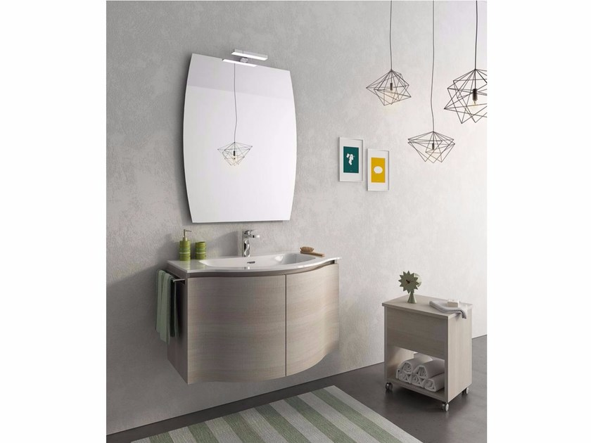 Wall-mounted vanity unit with doors BROADWAY B7 - LEGNOBAGNO