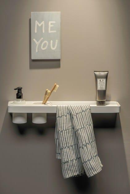 Porta asciugamani mensola bagno in acciaio verniciato a - Mensola acciaio bagno ...