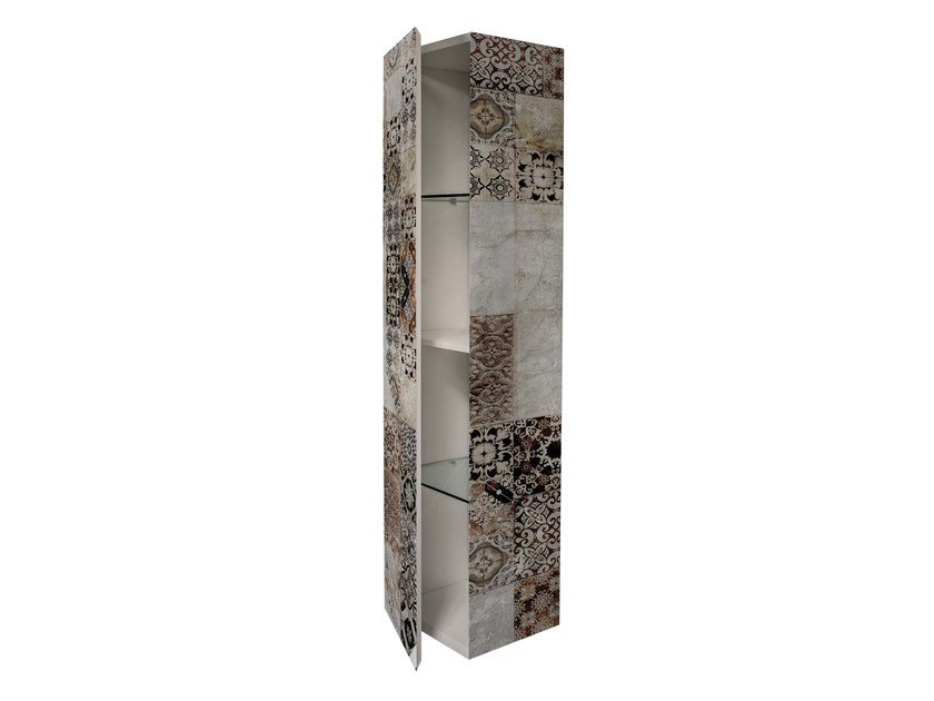 Lacquered MDF wall cabinet with door BS-4 - MOMENTI di Bagnai Matteo