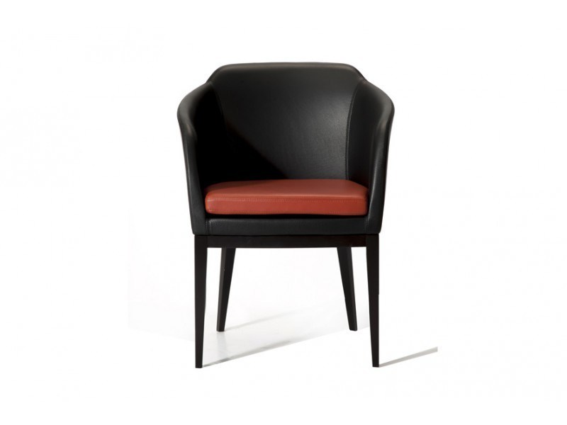 Leather easy chair with armrests CHARLOTTE - Canapés Duvivier