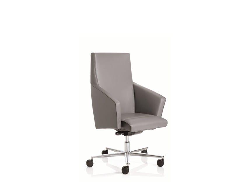 Poltrona ufficio direzionale a 5 razze con braccioli con schienale basso BUSINESS CLASS | Poltrona ufficio direzionale con schienale basso - Emmegi