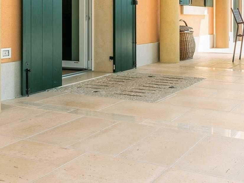 Outdoor floor tiles with stone effect Benacus® TRAVERTINO by FERRARI BK