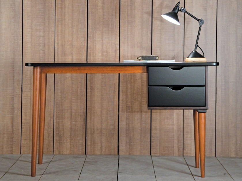Beech writing desk with drawers Biko | Black Writing Desk by Kann Design