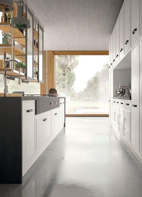 Cucina componibile in stile moderno con isola con maniglie Brera ...